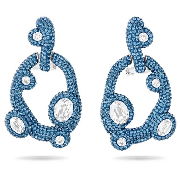 Tigris earrings, Water droplets, Blue, Palladium plated - Swarovski, 5568611