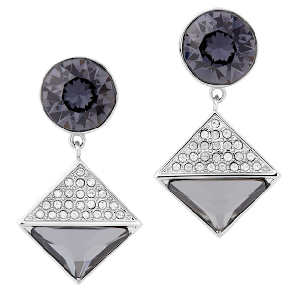 Orecchini Karl Lagerfeld Geometric, grigio, placcato palladio - Swarovski, 5568613
