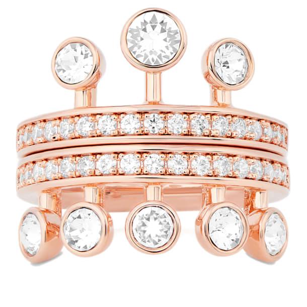 Theater Ring, White, Rose-gold tone plated - Swarovski, 5569096