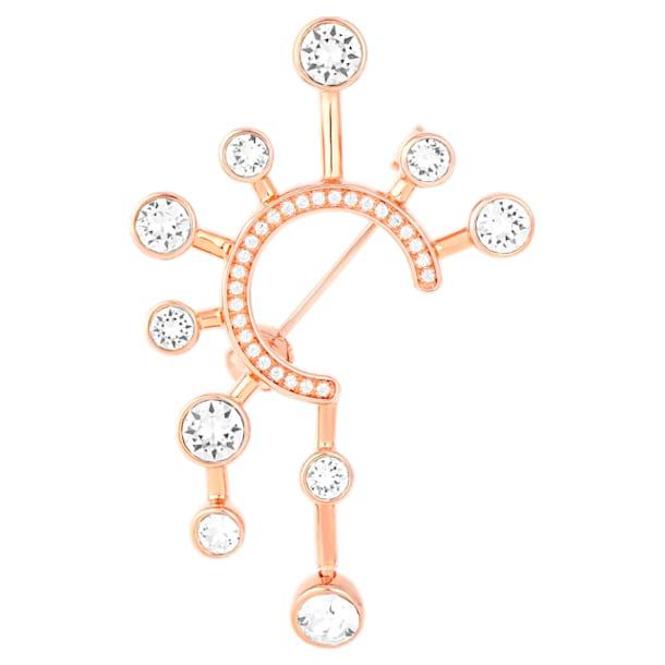 Theater 胸針, 白色, 鍍玫瑰金色調 - Swarovski, 5569131