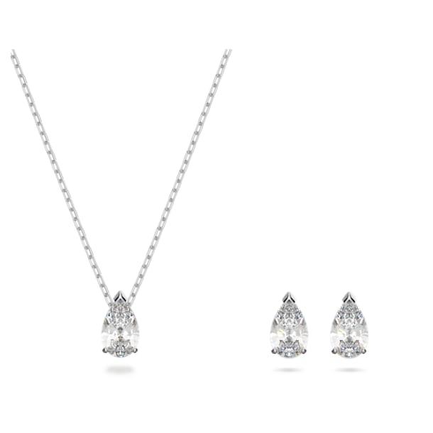 Attract szett, Körtemetszésű kristály, Fehér, Ródium bevonattal - Swarovski, 5569174