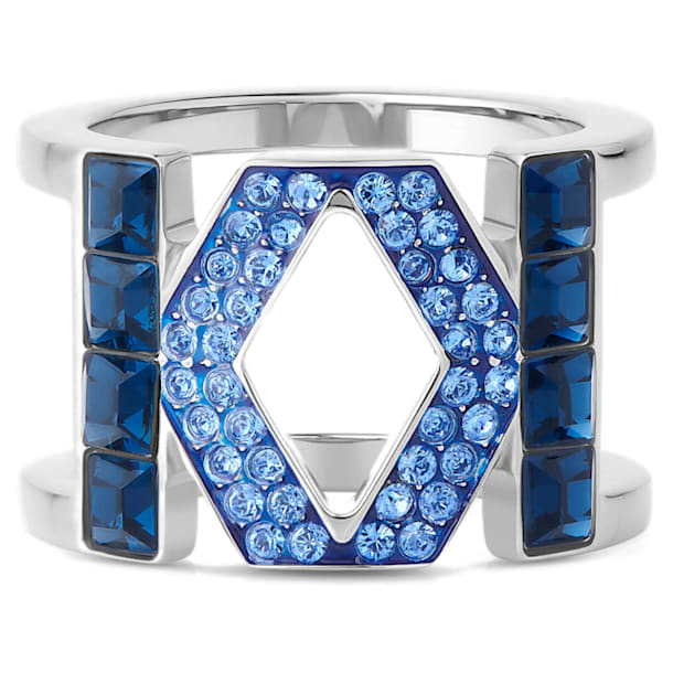 Karl Lagerfeld Logo 戒指, 蓝色, 镀钯 - Swarovski, 5569521