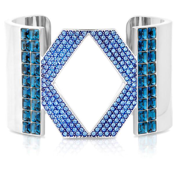 Karl Lagerfeld Logo 阔手镯, 蓝色, 镀钯 - Swarovski, 5569558