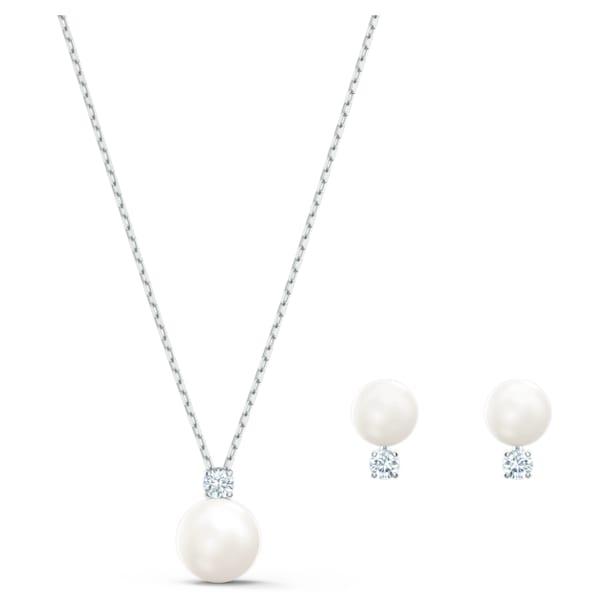 Σετ Treasure Pearl, λευκό, επιροδιωμένο - Swarovski, 5569758