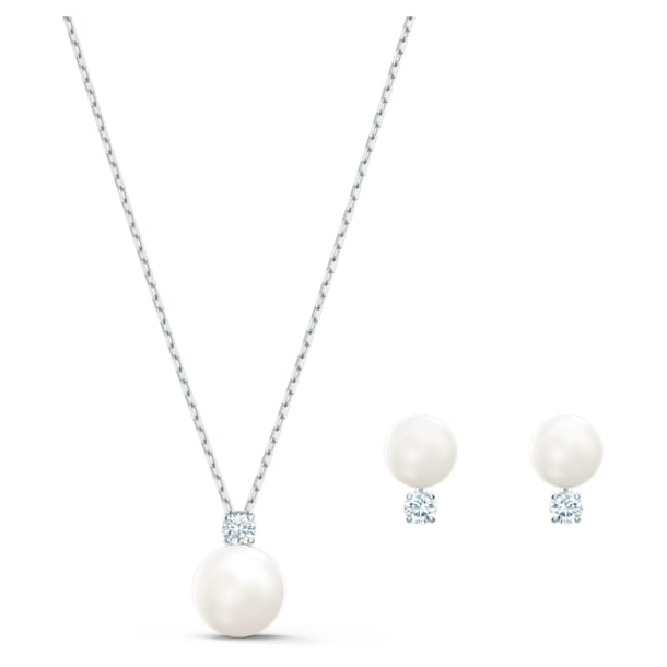 Treasure Pearl Set, White, Rhodium plated - Swarovski, 5569758
