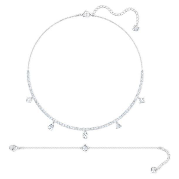 Set Tennis Deluxe, Cristale cu tăieturi diferite, Alb, Placat cu rodiu - Swarovski, 5570195