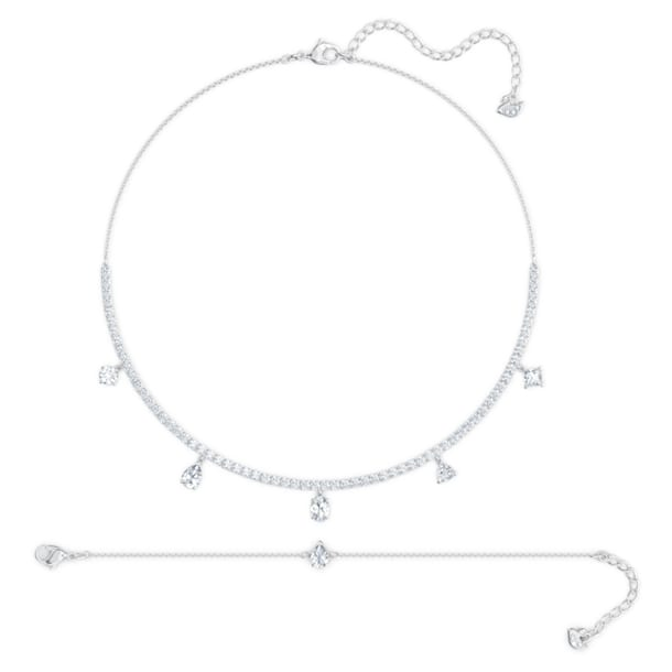 Tennis Deluxe szett, Különféle metszésű kristályok, Fehér, Ródium bevonattal - Swarovski, 5570195