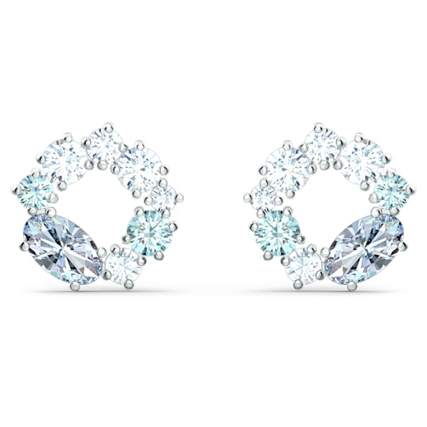Attract Circle Stud Pierced Earrings, Multicolored, Rhodium plated - Swarovski, 5570943