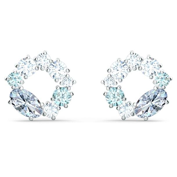 Attract stud earrings, Circular, Blue, Rhodium plated - Swarovski, 5570943