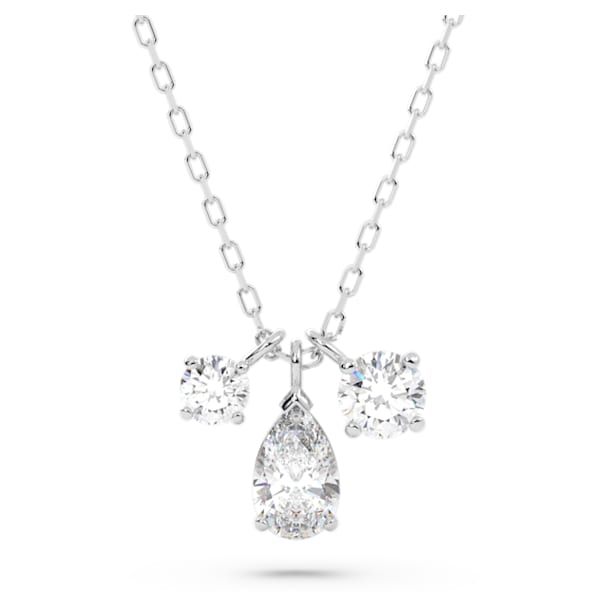 Attract Cluster Pendant, White, Rhodium plated - Swarovski, 5571077