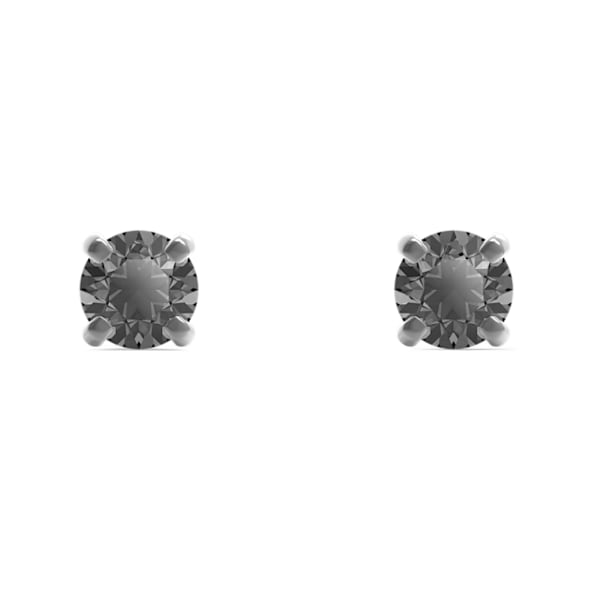 Men's Sleek Stud Pierced Earrings, Gray, Ruthenium plated - Swarovski, 5571555