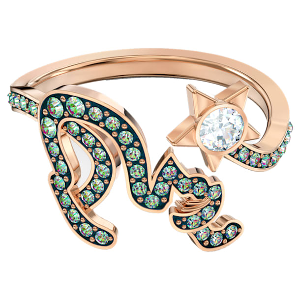 Cattitude Ring, Green, Gold-tone plated - Swarovski, 5572170