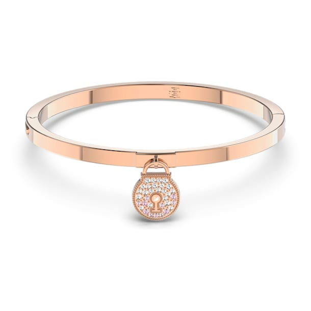 Togetherness Lock Bangle, Pink, Rose-gold tone plated - Swarovski, 5572171