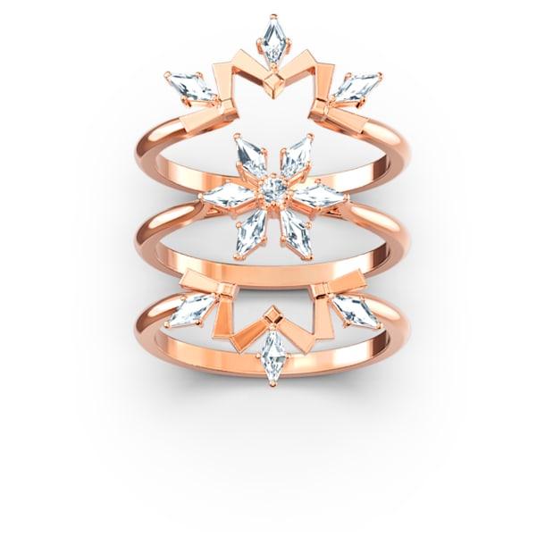 Conjunto de anéis Magic, branco, banhado a rosa dourado - Swarovski, 5572492