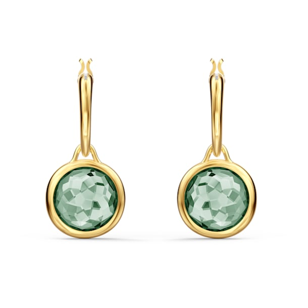 Tahlia 大圈耳环, 圆形切割, 绿色, 镀金色调 - Swarovski, 5572587