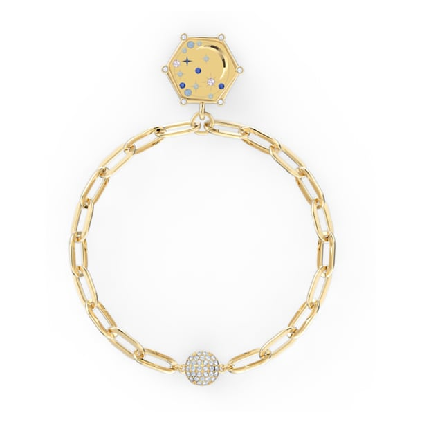 The Elements Moon Bracelet, Blue, Gold-tone plated - Swarovski, 5572650