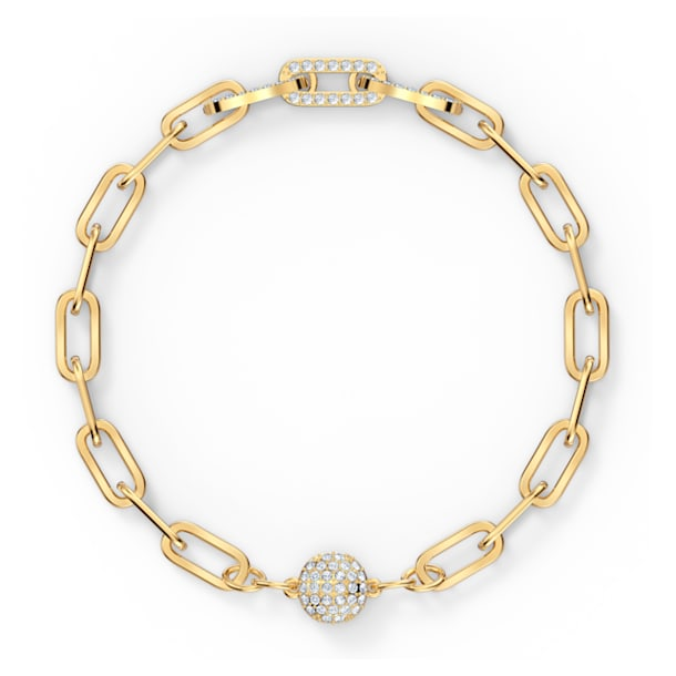 The Elements-schakelarmband, Wit, Goudkleurige toplaag - Swarovski, 5572652