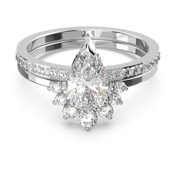 Δαχτυλίδι Attract, Σετ 2 τεμαχίων, Κρύσταλλο κοπής pear, Λευκό, Επιμετάλλωση ροδίου - Swarovski, 5572660