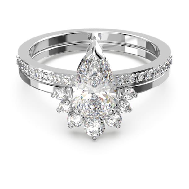 Attract ring, Set (2), Pear cut crystal, White, Rhodium plated - Swarovski, 5572660