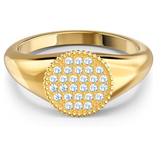 Ginger Signet Ring, White, Gold-tone plated - Swarovski, 5572697