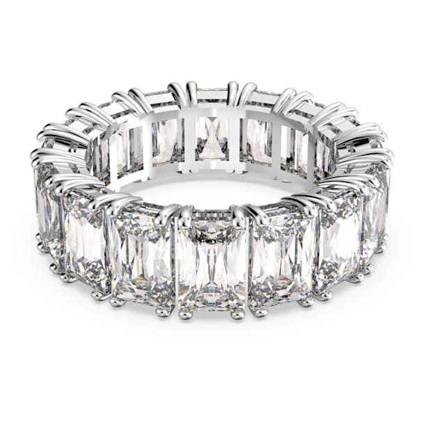 Vittore Wide 戒指, 白色, 鍍白金色 - Swarovski, 5572699