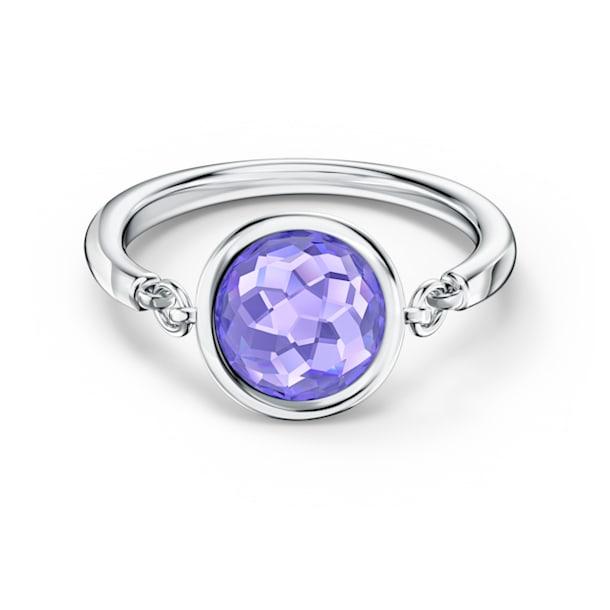 Tahlia 戒指, 圆形切割, 紫色, 镀铑 - Swarovski, 5572701