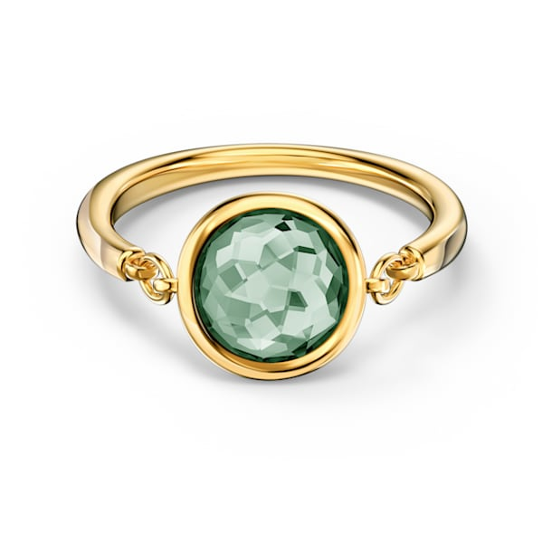 Tahlia 戒指, 圆形切割, 绿色, 镀金色调 - Swarovski, 5572708