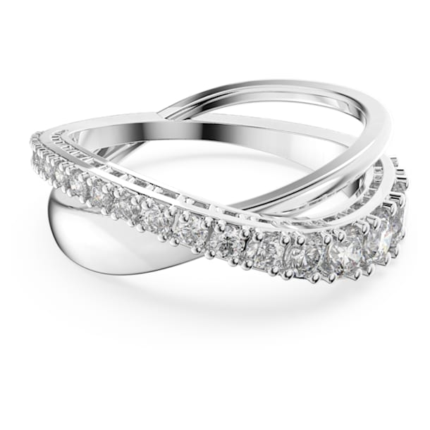 Twist Rows Ring, White, Rhodium plated - Swarovski, 5572710