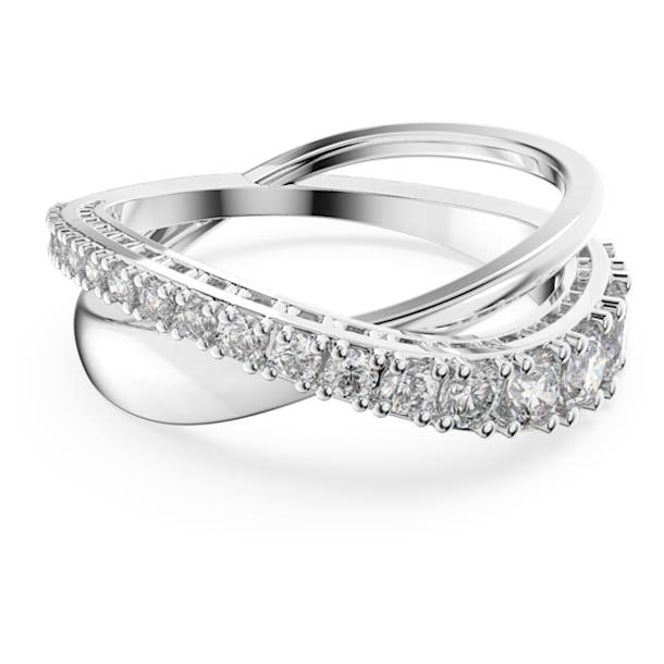 Twist Rows ring, White, Rhodium plated - Swarovski, 5572724