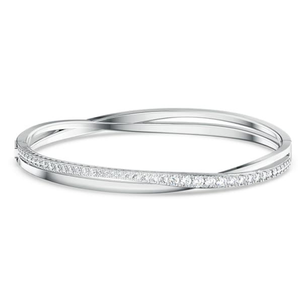 Twist Жёсткий браслет, Белый кристалл, Родиевое покрытие - Swarovski, 5572725