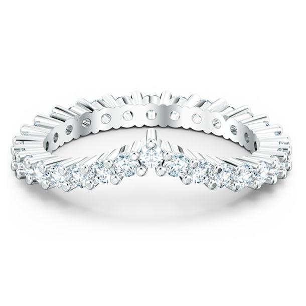 Δαχτυλίδι Vittore σε σχήμα V, λευκό, επιροδιωμένο - Swarovski, 5572814