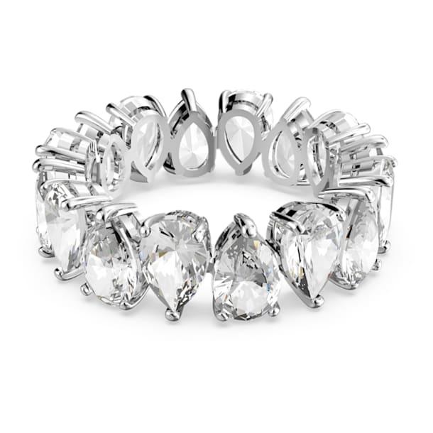 Vittore ring, Kristallen met Pear-slijpvorm, Wit, Rodium toplaag - Swarovski, 5572825