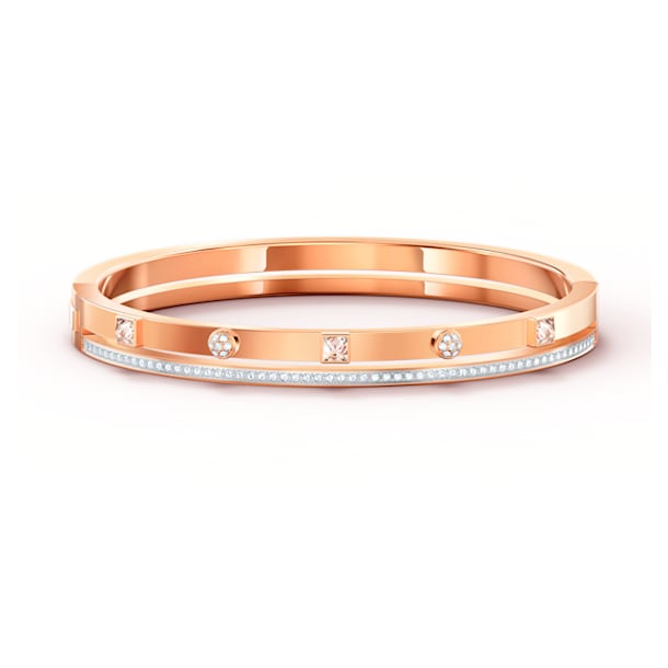 Pulseira bangle Thrilling, branca, banhada com tom rosa dourado - Swarovski, 5572914