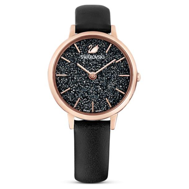 Montre Crystalline Joy, bracelet en cuir, Noir, PVD doré rose - Swarovski, 5573857