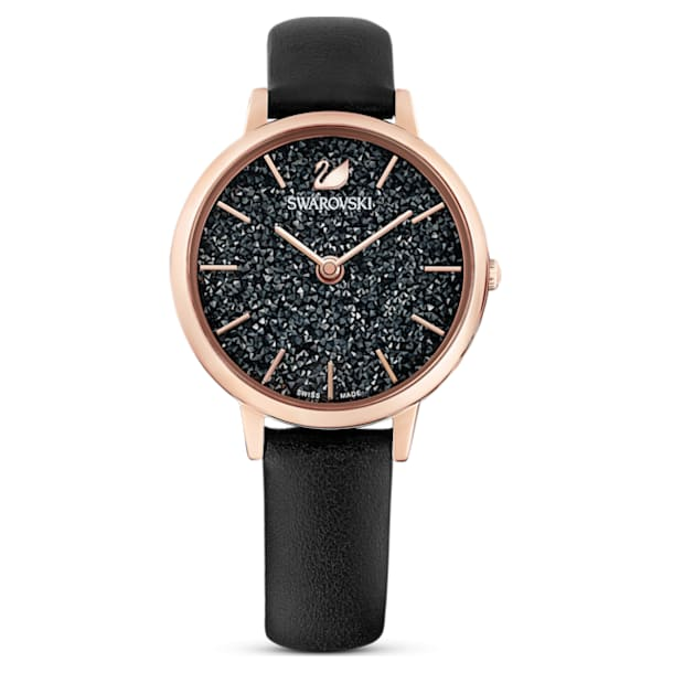 Crystalline Joy Watch, Leather strap, Black, Rose-gold tone PVD - Swarovski, 5573857