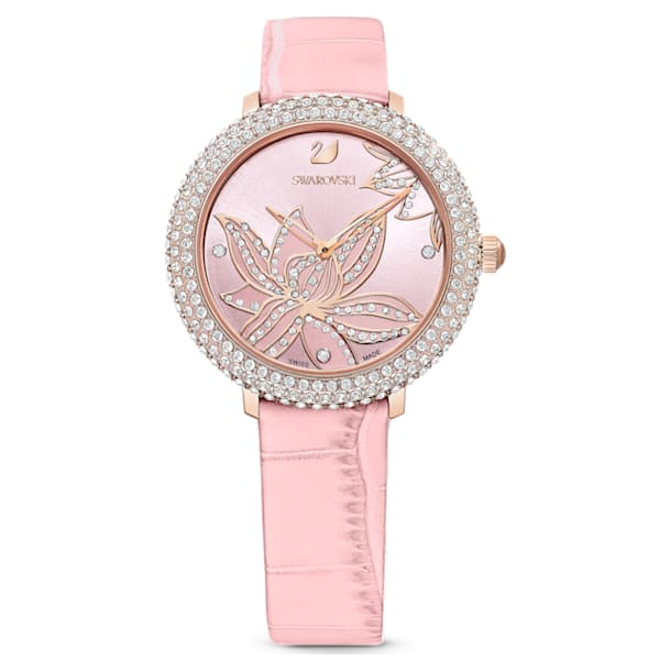 Crystal Frost 手錶, 花朵, 真皮錶帶, 粉紅色, 玫瑰金色調PVD - Swarovski, 5575217