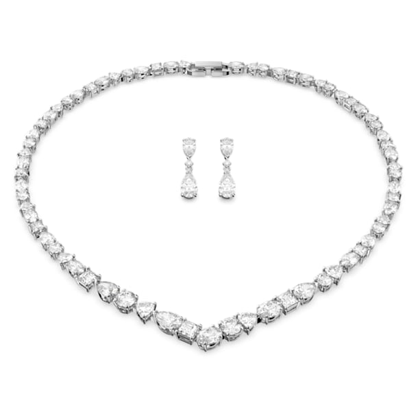 Set Tennis Deluxe V Mixed, bianco, placcato rodio - Swarovski, 5575495