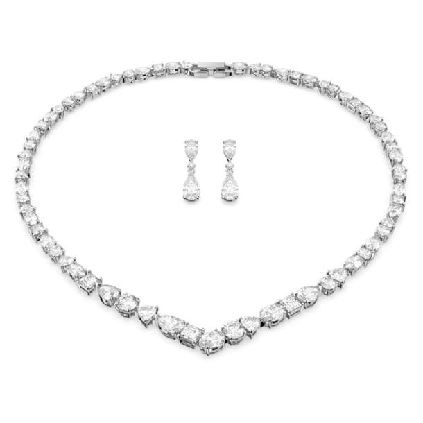 Tennis Deluxe V set, Kristallen met verschillende slijpvormen, Wit, Rodium toplaag - Swarovski, 5575495