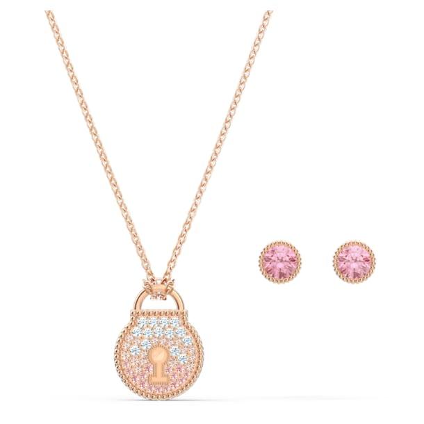 Togetherness Lock Set, Pink, Rose-gold tone plated - Swarovski, 5577010
