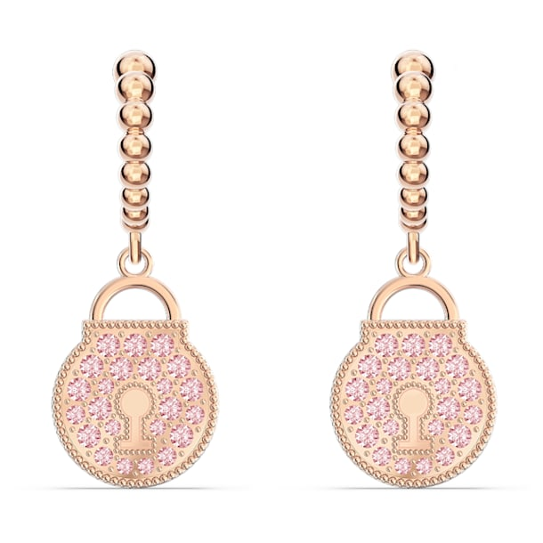 Togetherness Lock 穿孔耳環, 粉紅色, 鍍玫瑰金色調 - Swarovski, 5577011