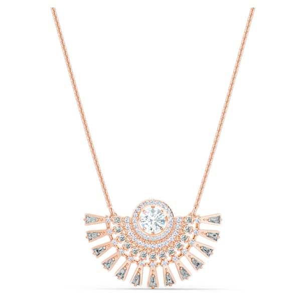 Swarovski Sparkling Dance Dial Up Necklace, Medium, Gray, Rose-gold tone plated - Swarovski, 5578116