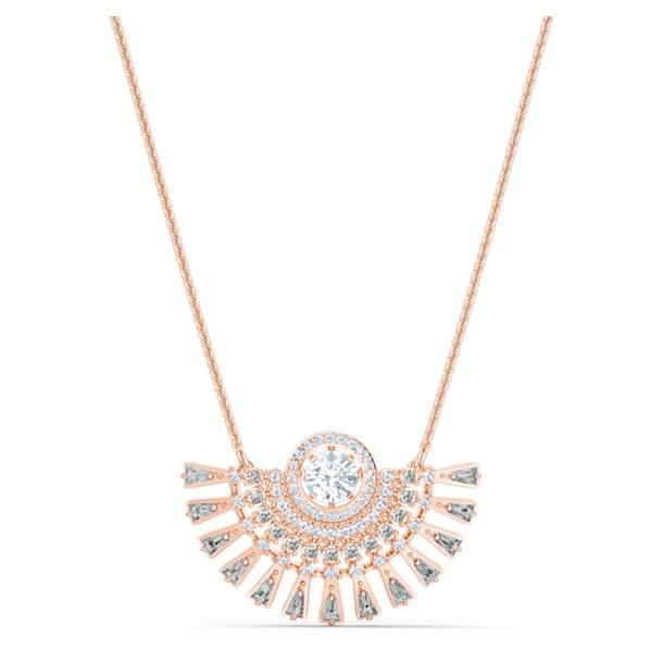 Swarovski Sparkling Dance Dial Up Necklace, Medium, Gray, Rose-gold tone plated - Swarovski, 5578116