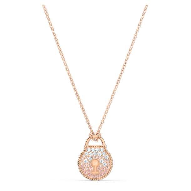 Togetherness Lock Necklace, Pink, Rose-gold tone plated - Swarovski, 5578393