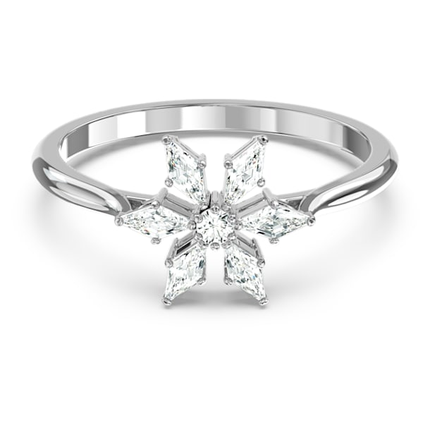 Magic ring, Sneeuwvlok, Wit, Rodium toplaag - Swarovski, 5578444