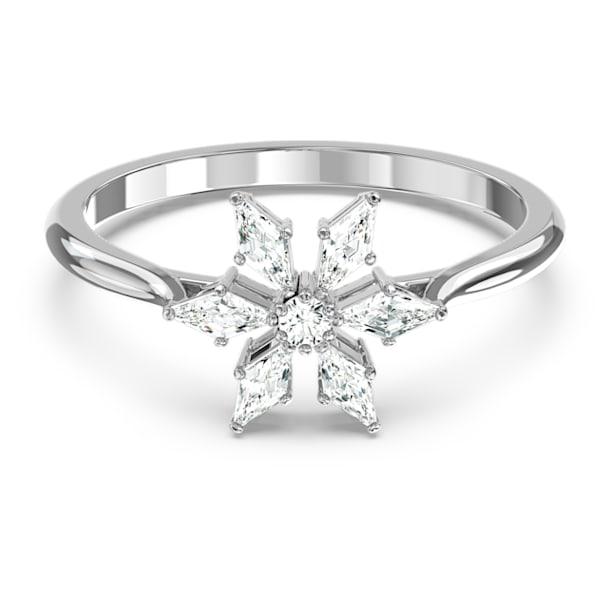 Magic ring, Snowflake, White, Rhodium plated - Swarovski, 5578445