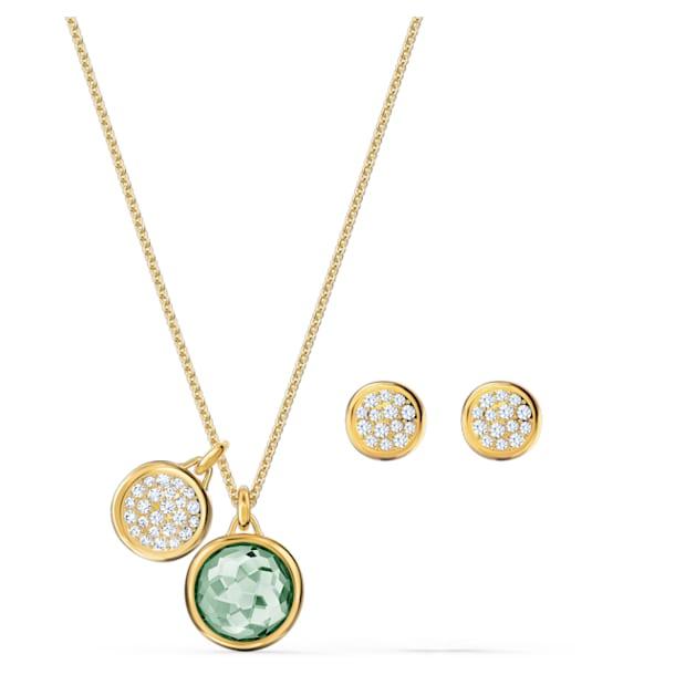 Tahlia set, Round, Green, Gold-tone plated - Swarovski, 5579789