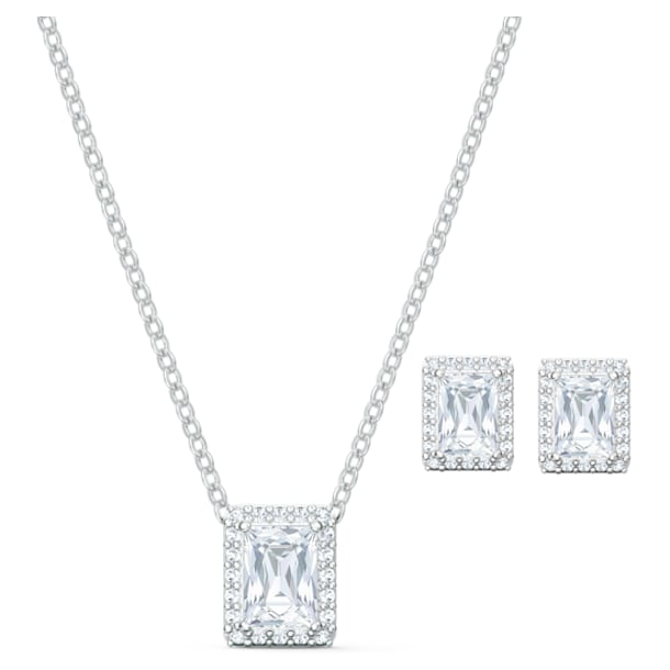 Angelic set, Rectangular, White, Rhodium plated - Swarovski, 5579842