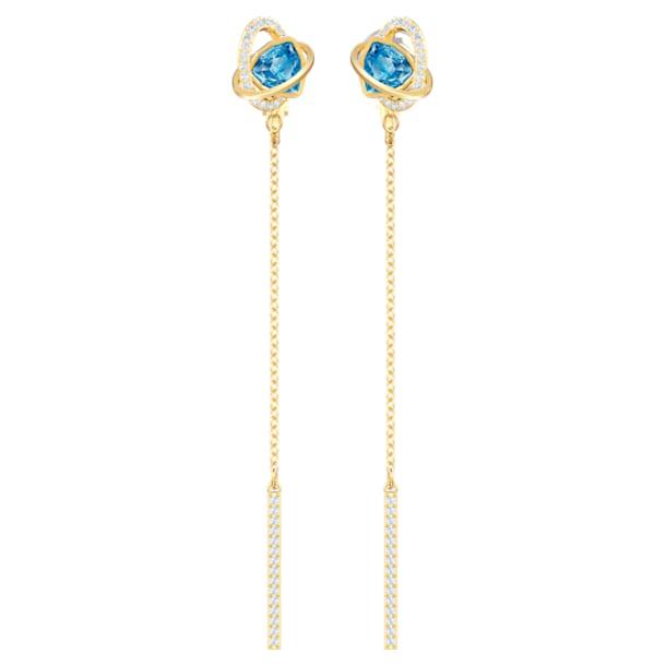 Outstanding 穿孔耳環, 海藍色, 鍍金色色調 - Swarovski, 5580273