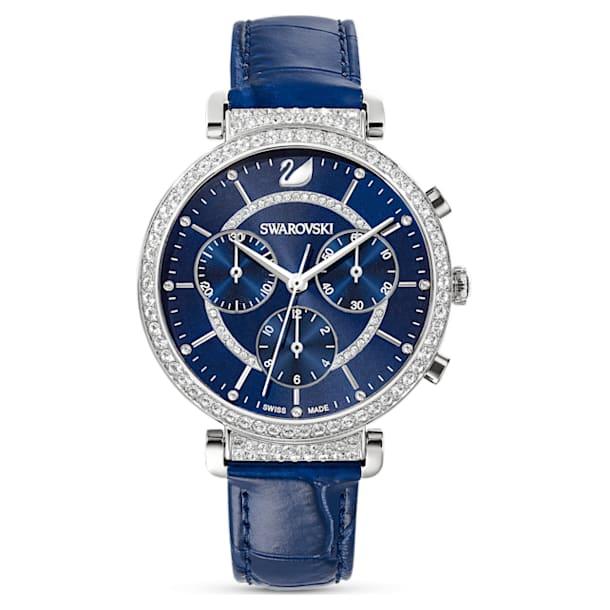 Passage Chrono Watch , Leather strap, Blue, Stainless steel - Swarovski, 5580342