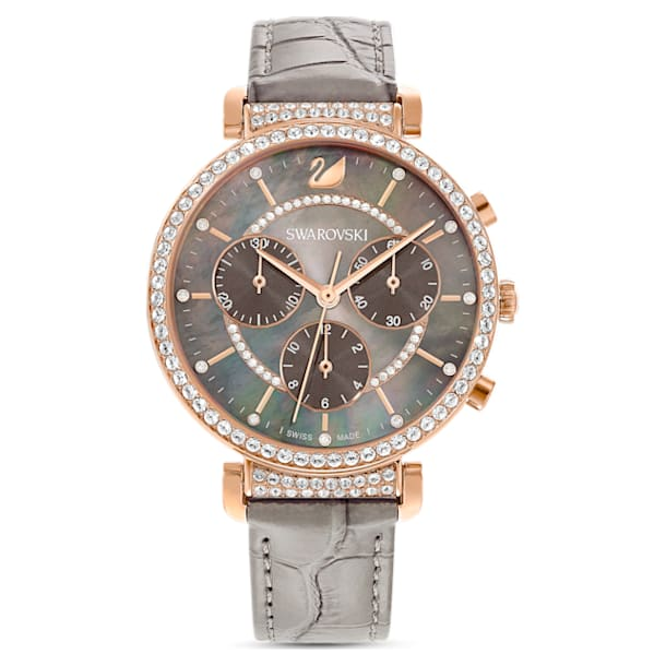 Passage Chrono Watch , Leather strap, Grey, Rose-gold tone PVD - Swarovski, 5580348